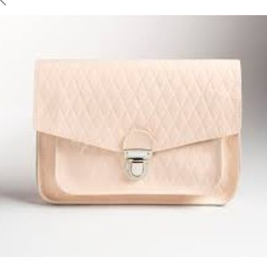 New Zatchels Nude Quilted Patent Leather Clutch